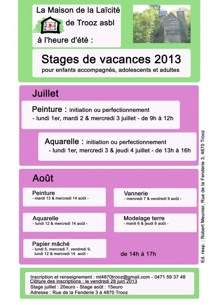 Stages vacances 2013